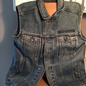 Harley Davidson blue jean vest men's small